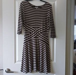Gorgeous Striped Black and Taupe Dress.